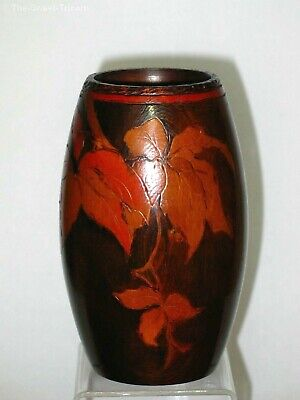 Pokerwork Vase with Leaves and Berries