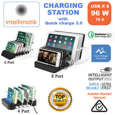 8 port USB Desktop Charger 96W/19A Multi Smart Fast Charging Station AU Qualcomm