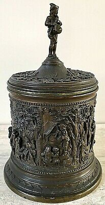 Bronzed French Antique Tobacco Jar with relief Rural Friese – By A. B. Paris