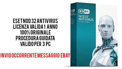 Eset NOD32 Antivirus 2019 (3 PC) 1 anno licenza digitale con invio immediato