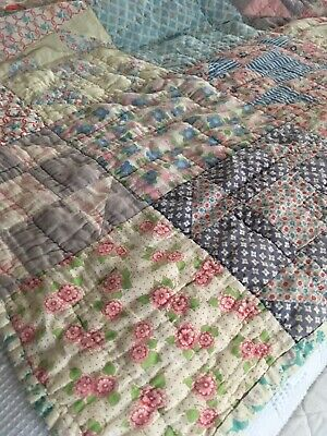 Antique Handmade Double Sided Patchwork Quilt