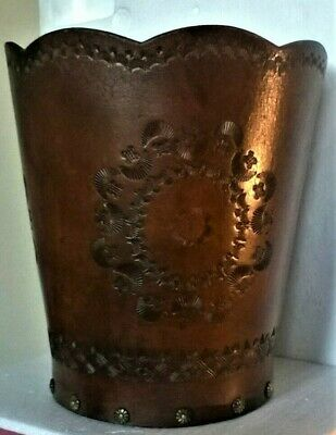 Vtg Leather Bucket/ Embossed ~ Wood Base Scallop Cut Top 10.5 Inch X 9 .5