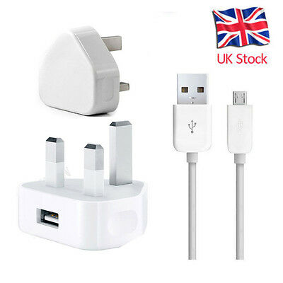 Genuine Ce Mains Charger Plug For Samsung Galaxy S7 S6 S5 Note 2 Htc & Usb Cable