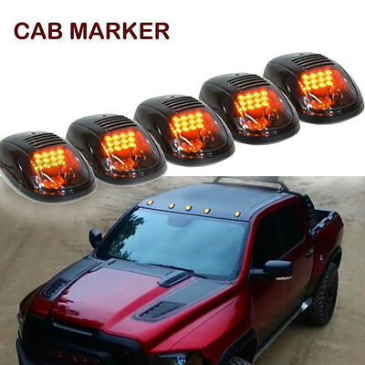 5pcs Smoked Cab Roof Marker Yellow Lights for 2003-2016 Dodge Ram 2500 3500
