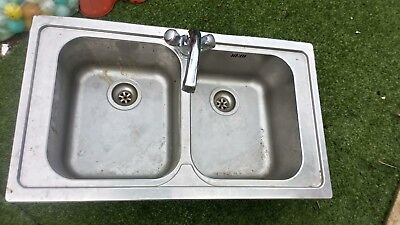 Catering sink, double with mixer tap