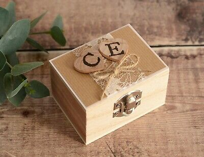 Personalised Wedding Ring Box. Wooden Hearts Stamped with Initials.