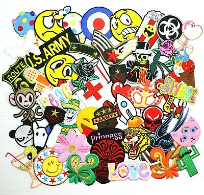 Lot 50 Funny Cartoon Military Animal Skull Food DIY Clothing Jeans Iron on Patch