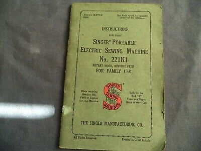 Vintage Singer Sewing-Original Featherweight 221K Manual