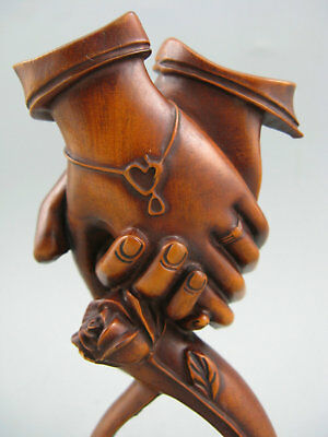 Old Rare Collectible Antique Boxwood Carved Hand Netsuke Statue