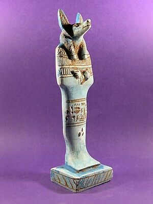 Beautiful Circa 715-332Bce Ancient Egyptian Anubis God Statue With Hieroglyphics