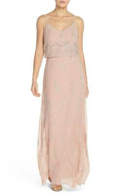 $361 Adrianna Papell Women'S Pink Embellished Beaded Popover Gown Dress Size 6