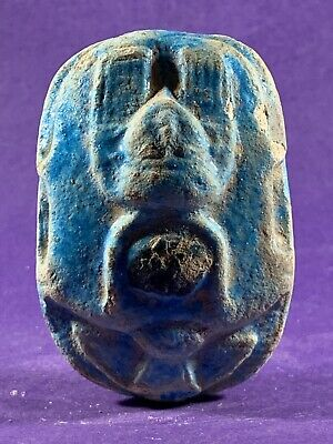 Lovely Circa 715-332Bce Ancient Egyptian Stone Scarab With Hieroglyphs