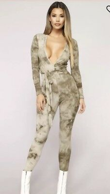 ae62b0cd2be7  25 Fashion Nova Jump To Conclusions Jumpsuit Tie Dye Army Green Womens M
