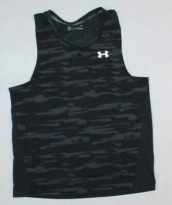 2e6360d5 UNDER ARMOUR LG Men's Threadborne Running Fitted Tank Top in Black Printed