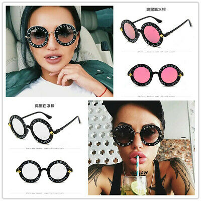 New Women Men Sunglasses Retro Round Circle Classic Bee Letters Eyewear Glasses