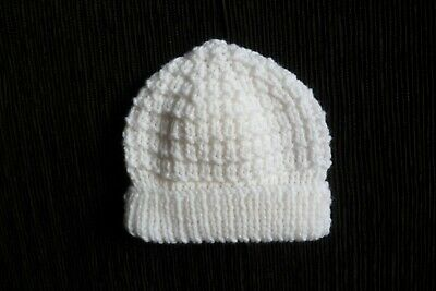 Baby clothes UNISEX BOY GIRL premature/tiny<7.5lb/3.4kg NEW! white patterned hat
