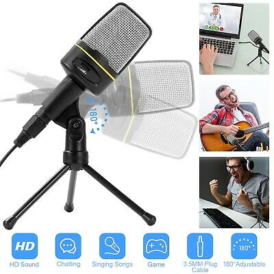 Pro Condenser Microphone Plug Play Home Studio Recording Podcast w/ Tripod Stand