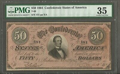 Type 66 $50 1864 Confederate States of America Low Serial Number 151