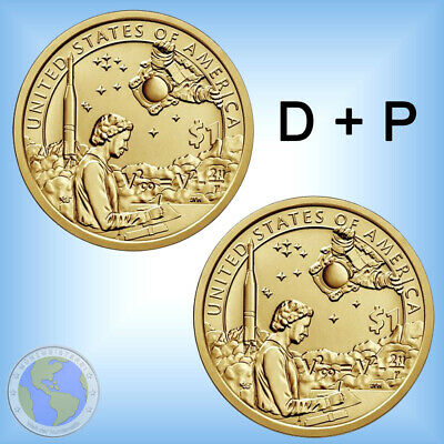 "2x 1 $ Dollar USA 2019 "" Native American - US Raumfahrt "" ## Set Mint D + P"