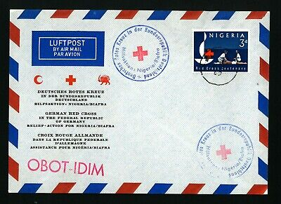 Nigeria Biafra Red Ceoss  Cover   Used   To Germany  Air Mail Obot Idim