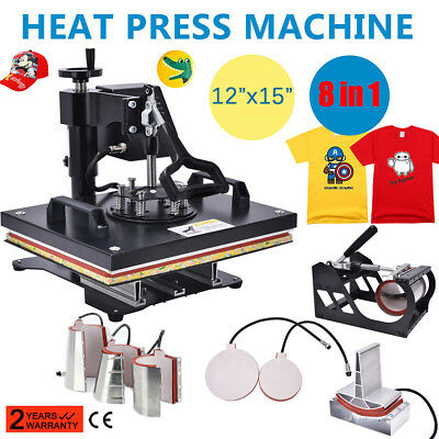 "8 in 1 Heat Press Machine For T-Shirts Combo Kit Sublimation Swing away 12""x15"""