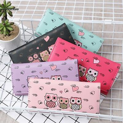 Fashion Women Girls Lady Cartoon Owl Pattern Coin Money Bag Purse Wallet GDNG