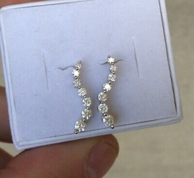 .40ct Diamond Earrings Solid 14k White Gold.  Real Diamonds!  .. Lot#349