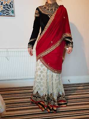 Pakistani/Indian Asian embroidered wedding lengha sari dress black white and red