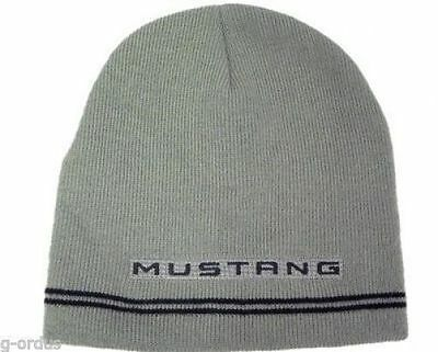 New With Tags Officially Licensed Ford Mustang Gray / Black Beanie Ski Hat Cap!