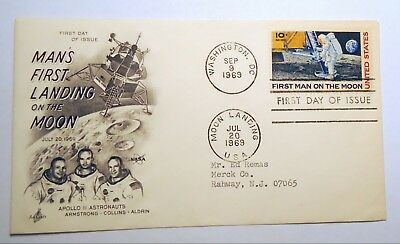 First Day Issue 1969 First Man on Moon Stamp + cover envelope Dual Cx art craft
