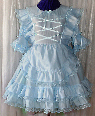 Angelic Blue Cotton Dress Sissy Lolita Adult Baby Aunt D