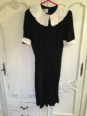 Vintage Black White Midi Dress Size M 12 Retro Big Collar Victorian