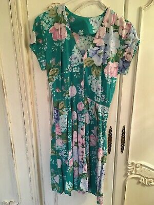Vintage Turquoise Green Floral Skater Dress Size 10 12 Button Front Summer