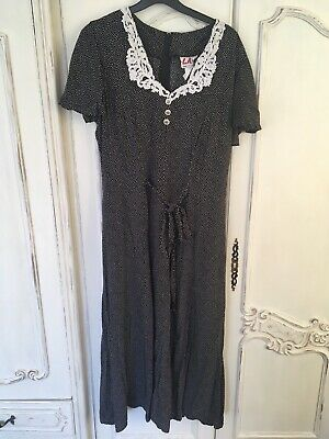 Vintage Black White Polka Dot Dress Size 10 12 White Pencil Midi M Long Tall