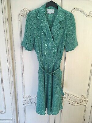 Vintage Green Polka Dot Wrap Dress Size 10 12 White Pencil Midi Knee Length Belt