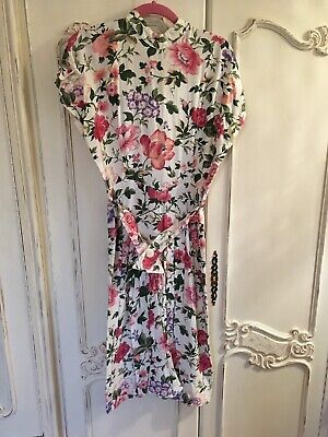 Vintage Dress Size 10 12 M White Pencil Midi Knee Length Floral Button Back Pink
