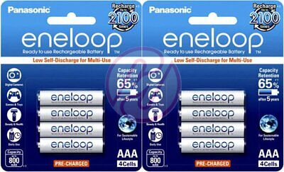 Panasonic eneloop BK-4MCCE Rechargeable AAA Pre-Charged 1.2v NiMH Battery x8