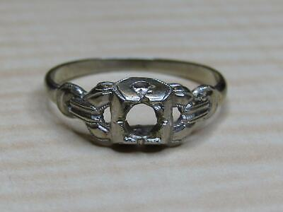 Vintage 14K White Gold Jewelry Ring 6.5 US For Repair Missing Stones