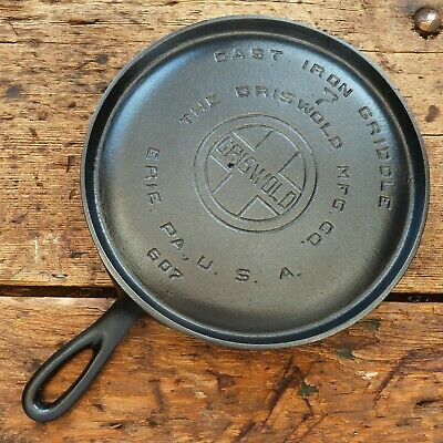 Vintage GRISWOLD Cast Iron GRIDDLE Pan RESTORED # 7 LARGE BLOCK LOGO - Ironspoon