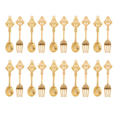 10 Pairs Miniature Golden Alloy Spoon Fork Set Tableware for 1/12 Dollhouse