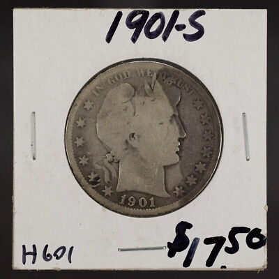 1901-S 50c SILVER BARBER HALF DOLLAR LOT#H601