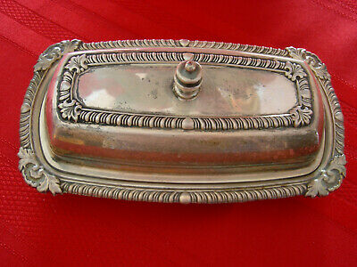 Vintage Silver Butter Dish With Glass Insert Cover Complete Covered Plated