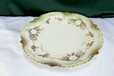 """Antique R S Prussia Porcelain 9"""" Plate Red and Green Mark"""