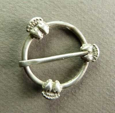 French Silver Three Crowned Hearts Ring Fede Wedding Buckle - 16th-17th C.