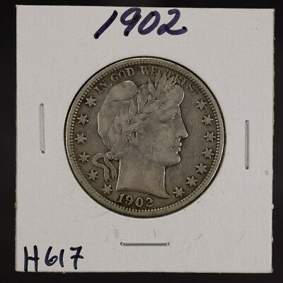 1902 50c SILVER BARBER HALF DOLLAR LOT#H617