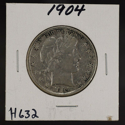 1904 50c SILVER BARBER HALF DOLLAR LOT#H632