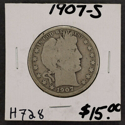1907-S 50c SILVER BARBER HALF DOLLAR LOT#H728