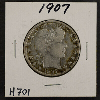 1907 50c SILVER BARBER HALF DOLLAR LOT#H701
