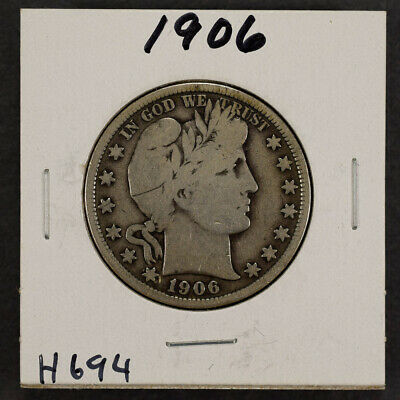 1906 50c SILVER BARBER HALF DOLLAR LOT#H694