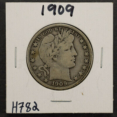 1909 50c SILVER BARBER HALF DOLLAR LOT#H782